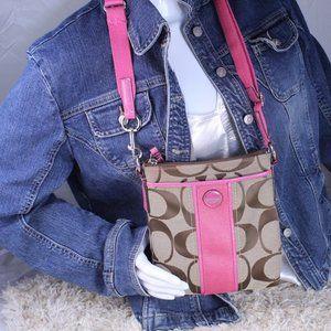 COACH SIGNATURE PINK STRIPE MESSENGER BAG